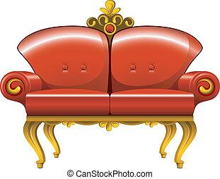 Rotes Vintage-Sofa