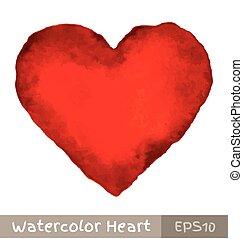 Rotes Wasserfarbenherz.