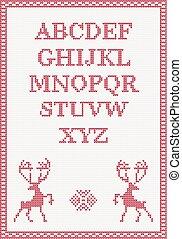 Rotgestricktes Alphabet