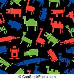 Rotgrüne, blaue, digitale Retrotiermuster eps10.