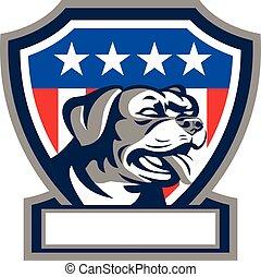 Rottweiler Guard dog USA Flag crest retro.