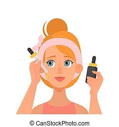 routine., alltaegliches, serum, sauber, gesunde, skin., sorgfalt, haut