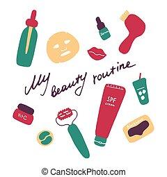 routine., grafik, produkte, mein, heiligenbilder, hand, kosmetisch, accessories., digital, schoenheit, vektor, gezeichnet, wohnung, print.