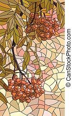 rowan., rotes , mosaik