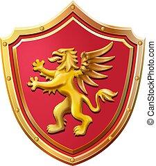 Royal emblem roter Schild Gold griff Vektorgrafik.