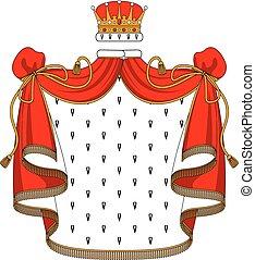 Royal Red Samtmantel mit goldener Krone.