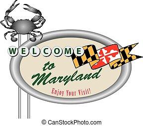 Rroad-Schild willkommen in Maryland