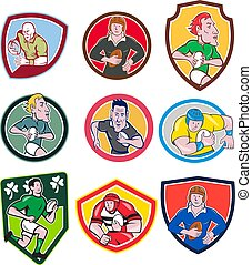 rugby-player-mascot-cartoon-icon-set