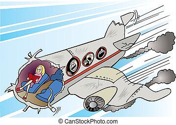 Ruhiges Mädchen und Flugzeugabsturz