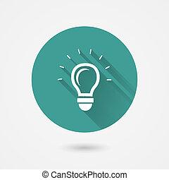 Rund glänzende Glühbirnen-Vektor-Icon.