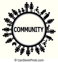 Runden Rahmen mit Menschen Piktogramme und Wortgemeinschaft.