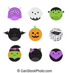 runder , kreatur, halloween, satz