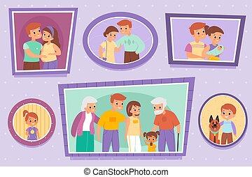 runder , photographie, grandparents., gruppe, quadrat, satz, kinder, familie, eltern, individuum, rahmen, wall., gemälde, oder, photos., portraits., leute, vektor, paare, bilder