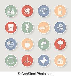 Rundes Ökologie-Icon Set. Vector Illustration