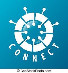 Rundes Vektor-Logo-Chip-Netzwerk.