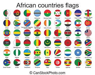 Rundknöpfe mit afrikanischen Flaggen