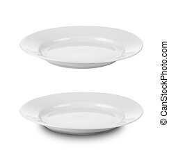 Rundplatten oder Gerichte isoliert auf weißem, mit Ausschnitt