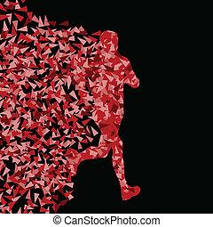 Runner active Sports Silhouette Hintergrundbild Vektorkonzept aus dreieckigen Fragmenten Explosion für Poster.