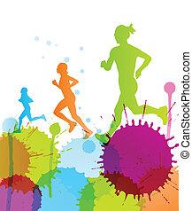 Runners abstrakte Farbe splash Vektor Hintergrund.