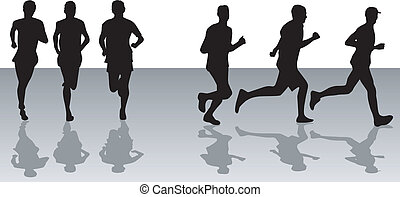 Running 2 - schwarze Silhouetten.