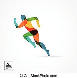 Running Man, sportfarbenes Poster, Icon mit Spritzen, Formen.