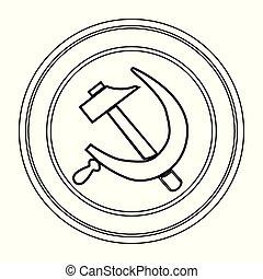 Russisches rundes Pinzeichen.