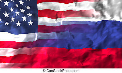 russland, amerika, staaten, flag., vereint
