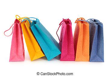 säcke, shoppen, bunte