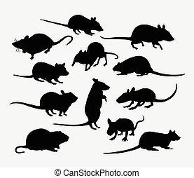 säugetier, ratte, silhouette, tier, maus