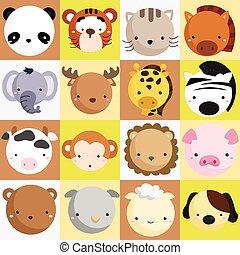 säugetier, vektor, satz, ikone