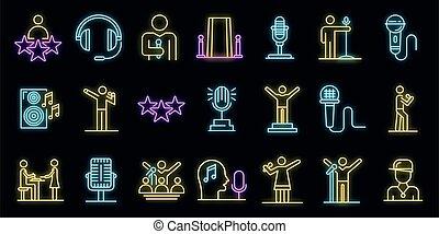 s�nger, satz, neon, vektor, heiligenbilder