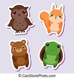 Süß kawaii Tiere Aufkleber eingestellt. Vector Illustration. Eule, Eichhörnchenbär, Schildkröte