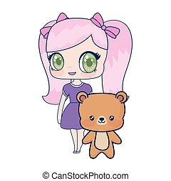 Süß lächelnde Anime-Mädchen Bär Baby.