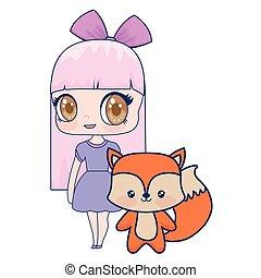 Süß lächelndes Anime-Mädchen Fuchs-Baby.