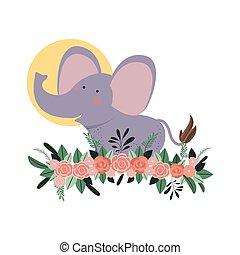 Süß und süßer Elefant mit Blumendekor.