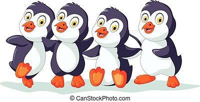 Süß vier Pinguin.