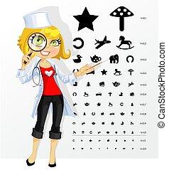 Süße Ärztin - Augenarzt - Augenarzt zeigt Kindertisch