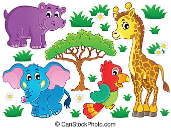 Süße afrikanische Tiere sammeln 1