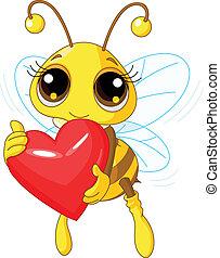 Süße Biene, die Liebe hält