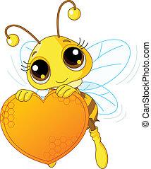 Süße Biene mit einem süßen Herzen