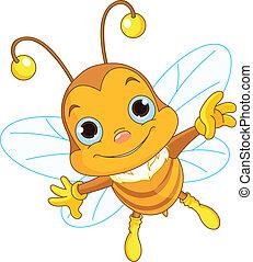 Süße Bienen fliegen.