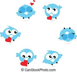 Süße blaue Twittervögel mit roten Herzen isoliert auf weiß