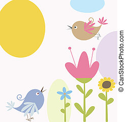 Süße Blumen und Vögel