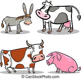 Süße Cartoon-Farmtiere