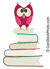 Süße Eule und Bücher