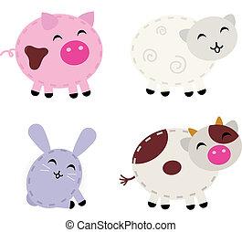 Süße Farmtiere, die auf weiß gestellt sind