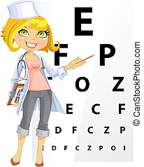Süße Frau Doktor - Augenarzt.