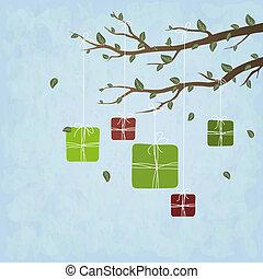 Süße Geschenke hängen an einem Baum