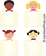 Süße, glückliche multikulturelle Kinder mit leerem Banner