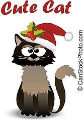Süße Katze mit Hut.